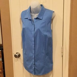 Talbots blue sleeveless blouse. Sz 14W.